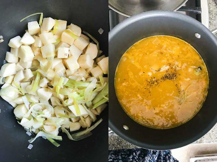 Two photographs of vegan potato leek soup being prepped in a non-stick pot.