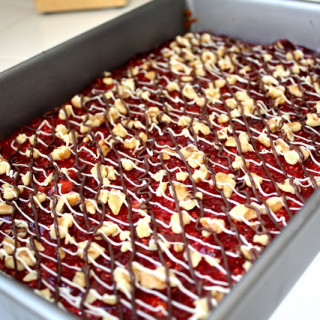 Raspberry Coconut Layer Bars (contains dairy, contains gluten)
