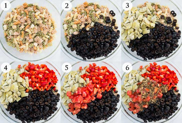 Quick easy italian pasta salad recipe vegan vegetarian gastronomy a six photograph collage showing step by step on how to make an easy forumfinder Image collections