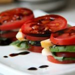 Tomato-Basil-Mozzarella-Avocado Stacks w/Balsamic Reduction Sauce (vegan option, gluten-free)