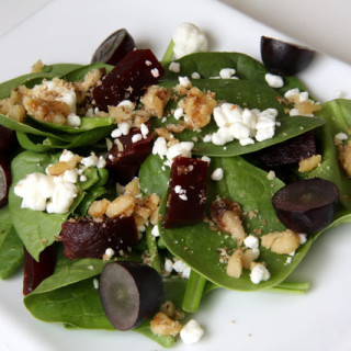 Beets, Grapes, Goat Cheese, & Walnut Salad (gluten-free, contains dairy)