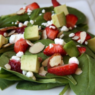 Strawberry, Goat Cheese, & Almond Salad (gluten-free, contains dairy)