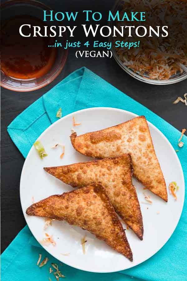 Learn how to make wontons yourself in this easy 4 step tutorial! These tofu & vegetable crispy wontons make for the perfect snack, appetizer, or lunch. And once you start dipping, you won't be able to stop enjoying them! #vegan #veganwontons #wontons #crispywontons #vegetablewontons | Vegetarian Gastronomy | www.VegetarianGastronomy.com