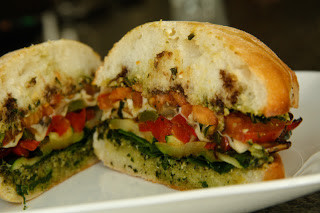 Grilled Veggie Sandwich w/Pesto & Mozarella (gluten-free option, contains dairy)