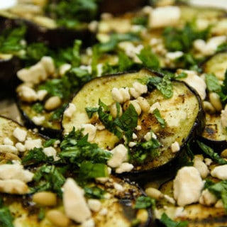 Grilled Eggplant & Goat Cheese Salad (gluten-free, contains dairy)
