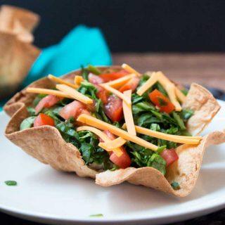 Layered Taco Salad with Baked Tortilla Bowls