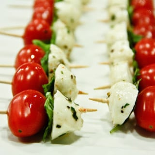 Caprese Salad Sticks w/Balsamic Reduction Drizzle (gluten-free, contains dairy)
