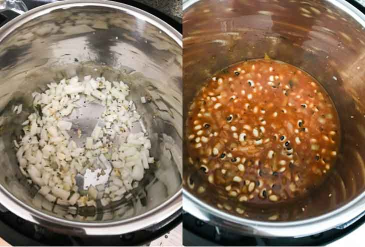 A collage of two photographs. Both showing pictures inside the instant pot and steps for making a vegan black eyed peas recipe.