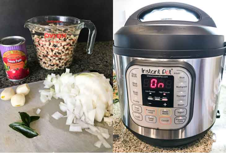A collage of two photographs, one showing the ingredients for vegan black eyed peas recipe and the second showing an instant pot in action.