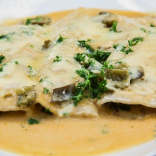 Poblano Cream Sauce Enchiladas (gluten-free, contains dairy)