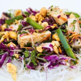 Rice Noodle Salad w/Baked Tofu & Herbs (vegan, gluten-free)