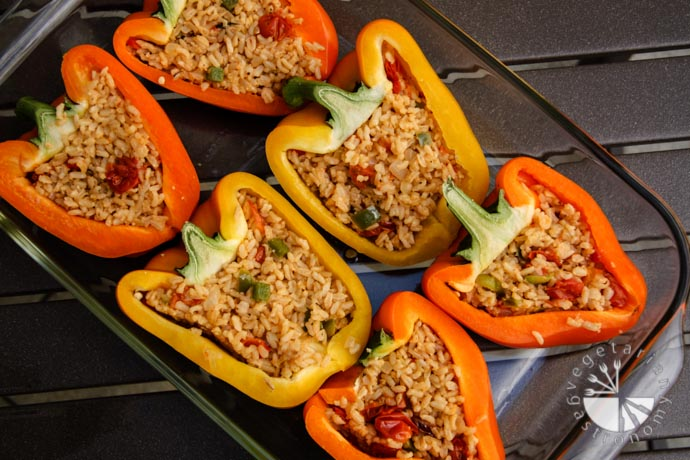 vegetarian stuffed peppers with brown rice