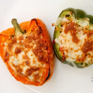 Brown Rice Stuffed Bell Peppers (gluten-free, contains dairy)