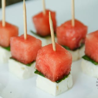 Watermelon, Mint, and Feta Cheese Skewers (gluten-free, contains dairy)