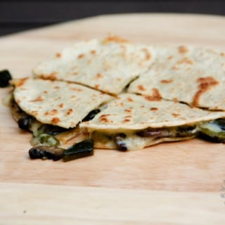 Roasted Poblano and Portabello Mushroom Quesadilla (gluten-free, contains dairy)