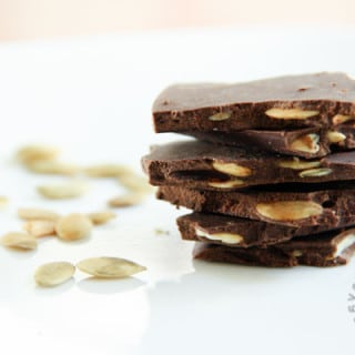 Dark Chocolate Roasted Pumpkin Seed Bark (gluten-free, vegan option)