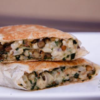 Grilled Lentil, Brown Rice, Spinach Wraps (vegan, gluten-free option)