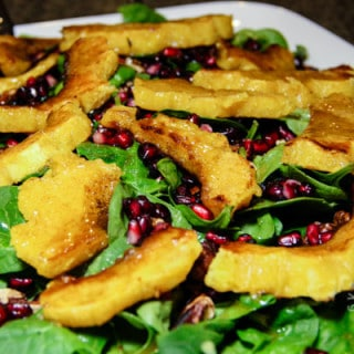 Roasted Acron Squash & Pomegranate Salad w/Warm Cider Dressing (gluten-free, vegan)