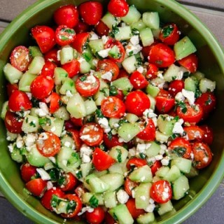 Cherry Tomato, Cucumber, & Mint Salad (gluten-free, contains dairy)