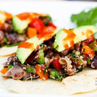 four bean quinoa veggie tacos SI-2
