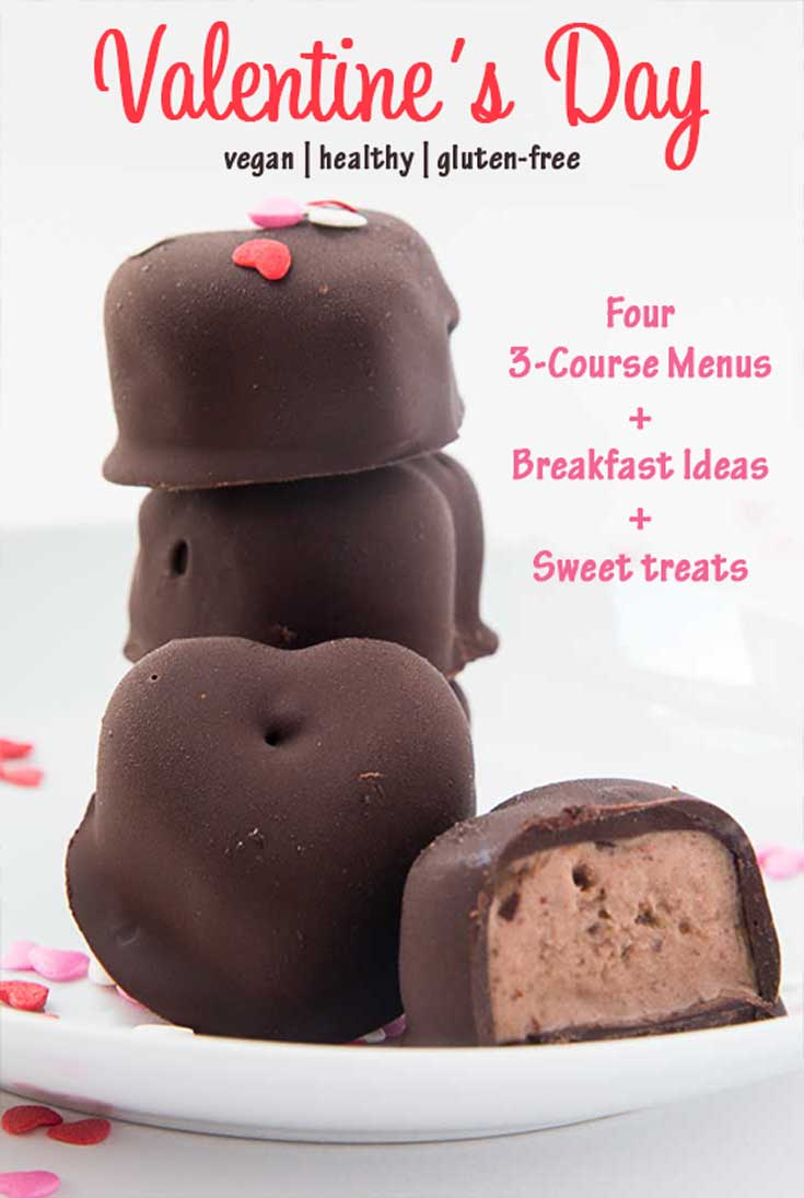 Valentines Dinner recipes, including 3-course menu, breakfast ideas, and sweet treats.