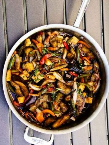Thai basil eggplant. Vegan and Gluten Free.