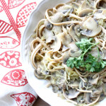 Vegan Creamy Mushroom Alfredo w/ Spaghetti Squash and Noodles (vegan, gluten-free) – Guest Post From Veggies Don't Bite