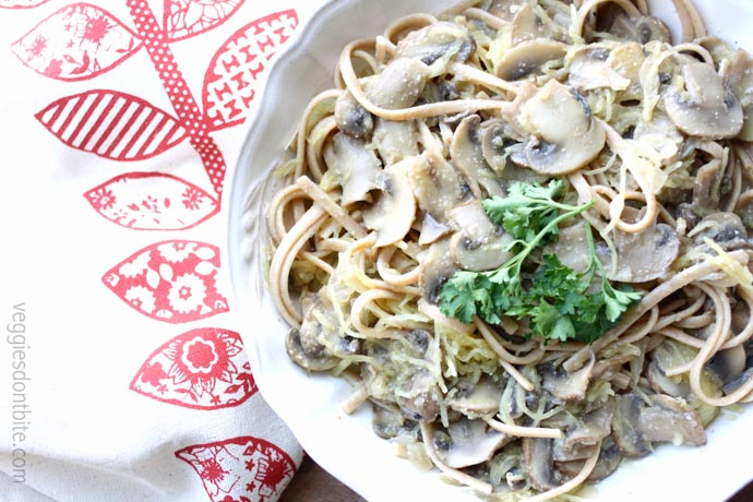 Vegan Creamy Mushroom Alfredo W Spaghetti Squash And Noodles Vegan Gluten Free Guest Post From Veggies Don T Bite Vegetarian Gastronomy