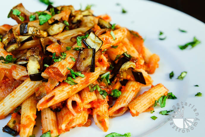 ... Onions, Roasted Eggplant, and Tomato Penne Pasta (vegan, gluten-free