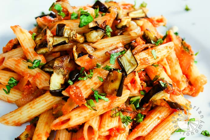 roasted eggplant caramelized onion pasta-9