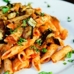 Caramelized Onions, Roasted Eggplant, and Tomato Penne Pasta (vegan, gluten-free)