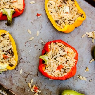 Mediterranean Stuffed Bell Peppers (contains dairy, contains gluten)