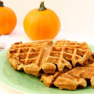 Pumpkin Spice Pecan Waffles (vegan, contains gluten)