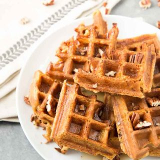 Pumpkin Spice Vegan Waffles with Pecans