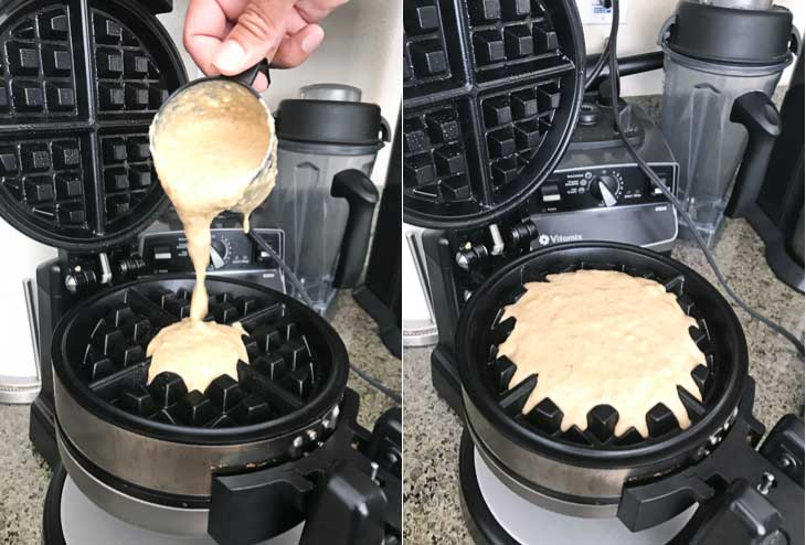 A two photograph collage of pumpkin vegan waffles batter being poured into a belgian waffle maker.