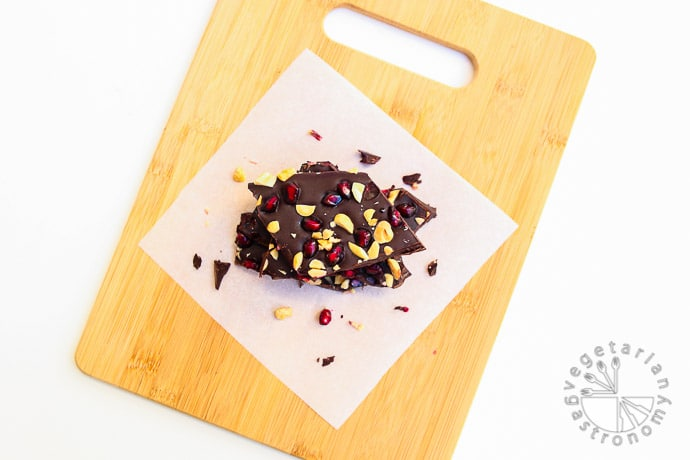 pomegranate peanut dark chocolate bark-8