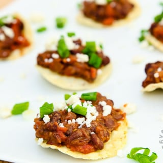 Mini Black Bean, Fire Roasted Tomato, & Spinach Corn Tostadas (vegan, gluten-free)