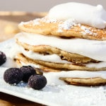 Banana Macadamia Nut, Coconut Whip Pancakes (vegan, contains gluten)