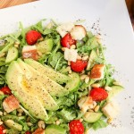 Arugula, Avocado, Tomato and Pine Nut Salad (vegan, gluten-free)