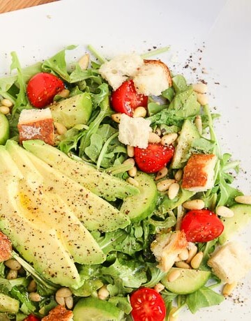 arugula tomato pine nut salad-7