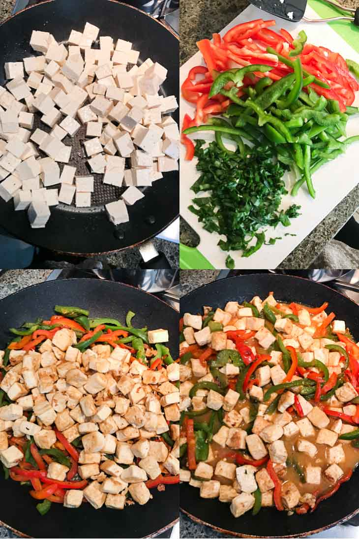A collage of four prep photographs showing the steps to make orange tofu stir-fry.