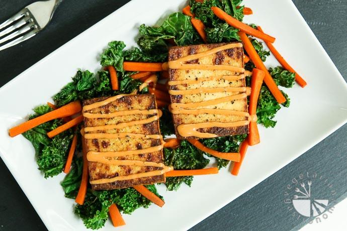 warm crispy baked tofu kale salad-4
