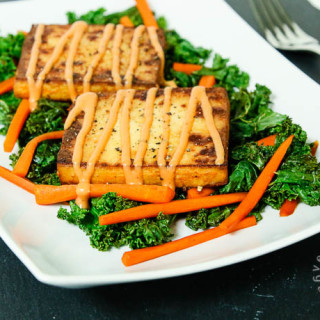 Crispy Baked Tofu and Kale Salad