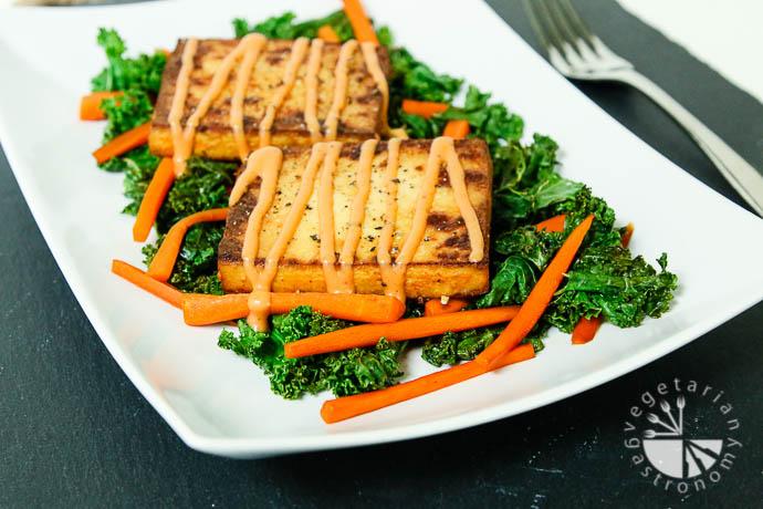 warm crispy baked tofu kale salad-5