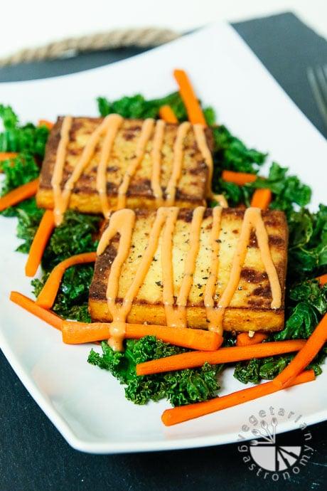 warm crispy baked tofu kale salad-7