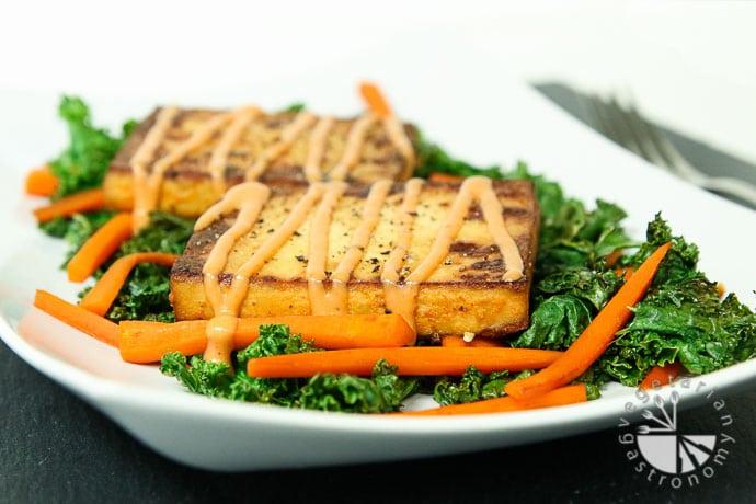 warm crispy baked tofu kale salad-8