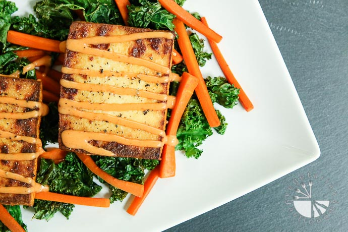 warm crispy baked tofu kale salad-9