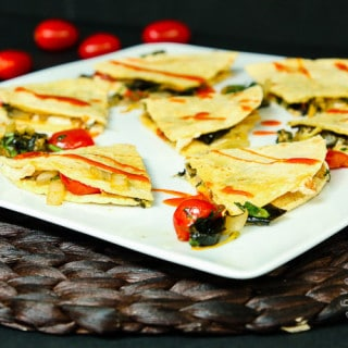 Squash Blossom, Roasted Poblano, and Cherry Tomato Quesadillas