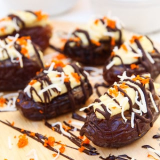 Dark Chocolate Covered Dates Stuffed with Orange Coconut Cream