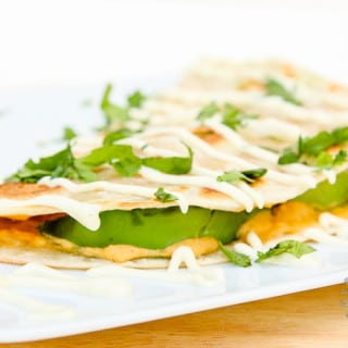 Avocado Hummus Quesadillas with Sweet Jalapeno-Lemon Cream Sauce